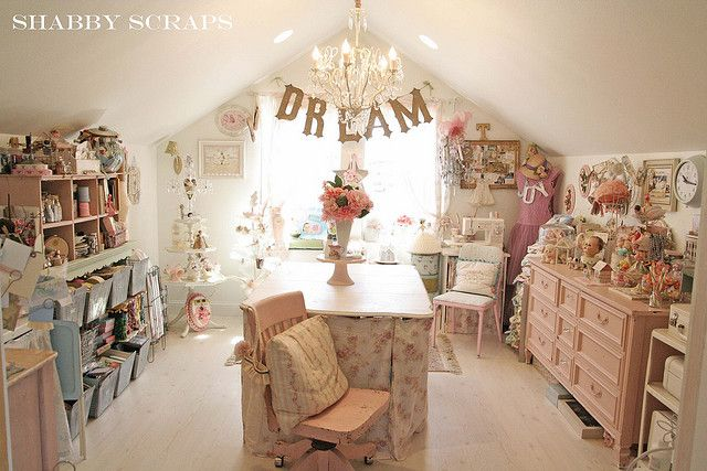 a shabby chic craft room. ummm... i just arrived in heaven.