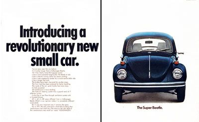 1971 Volkswagen VW Super Beetle vintage ad. This Beetle would feature twice the luggage space, new suspension, improved brakes and a 3 inch longer chassis. One year later, the VW Beetle would surpass the Ford Model T in production numbers at just over 15 million units.