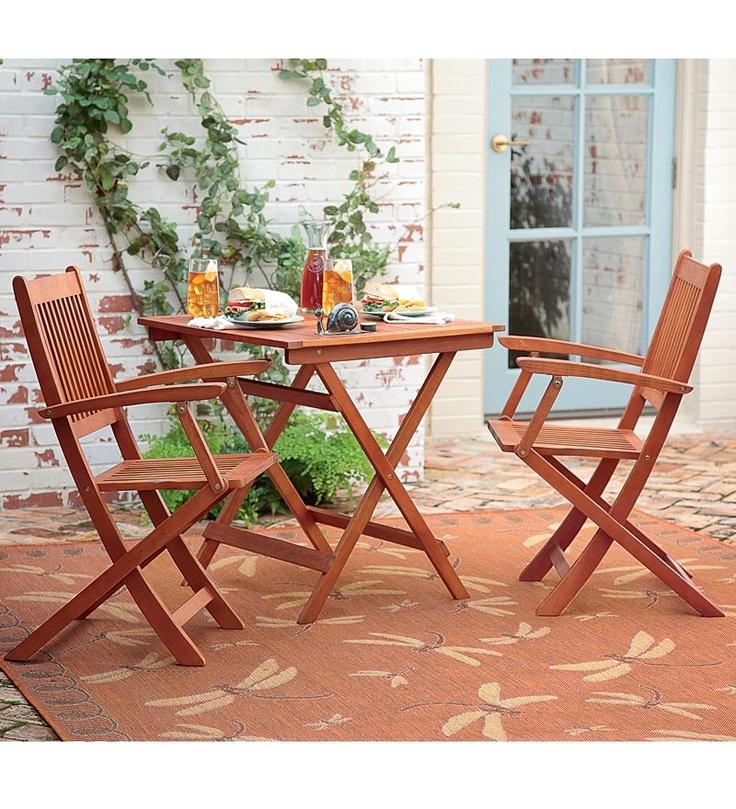 Enjoy Comfortable, Convenient Outdoor Seating With This Three Piece  Eucalyptus Bistro Set.