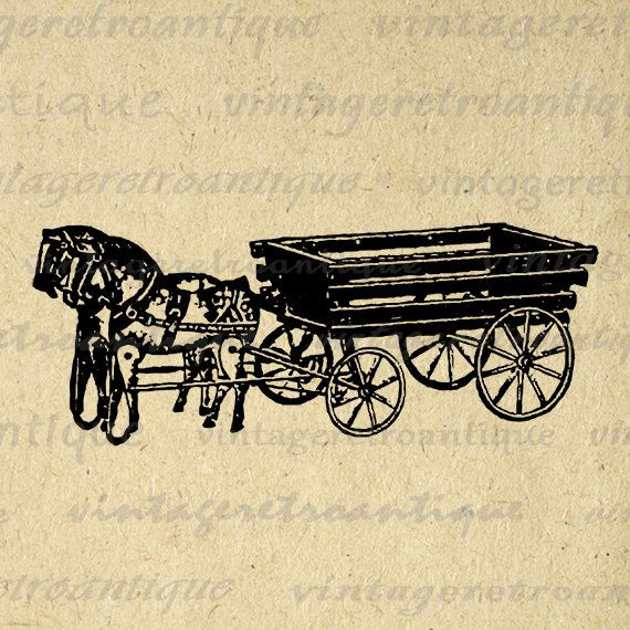 Antique Toy Wagon Graphic Digital Image Printable Illustration