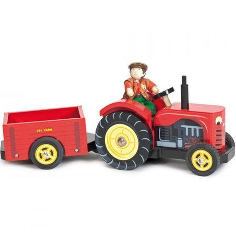 le toy van houten tractor met aanhangwagen TV468 | ilovespeelgoed.nl