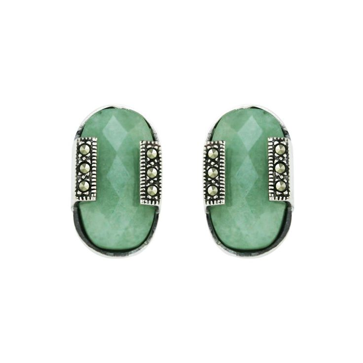 Silver Jewelry Marcasite Natural Green Jade Earrings: