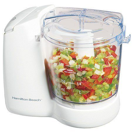 Food Chopper by Hamilton Beach. $28.28. Compact, affordable electrics chop and mince in a flash.Hamilton Beach Food Choppers speed food prep by handling the chopping, mincing and mixing for you. Don 't let the compact, lightweight design fool you. These popular food choppers are powerful enough to take on onions, herbs, nuts, garlic and more. You can even use these food choppers to puree sauces and baby food.Hamilton Beach Food Choppers ' stainless steel chopping blades...