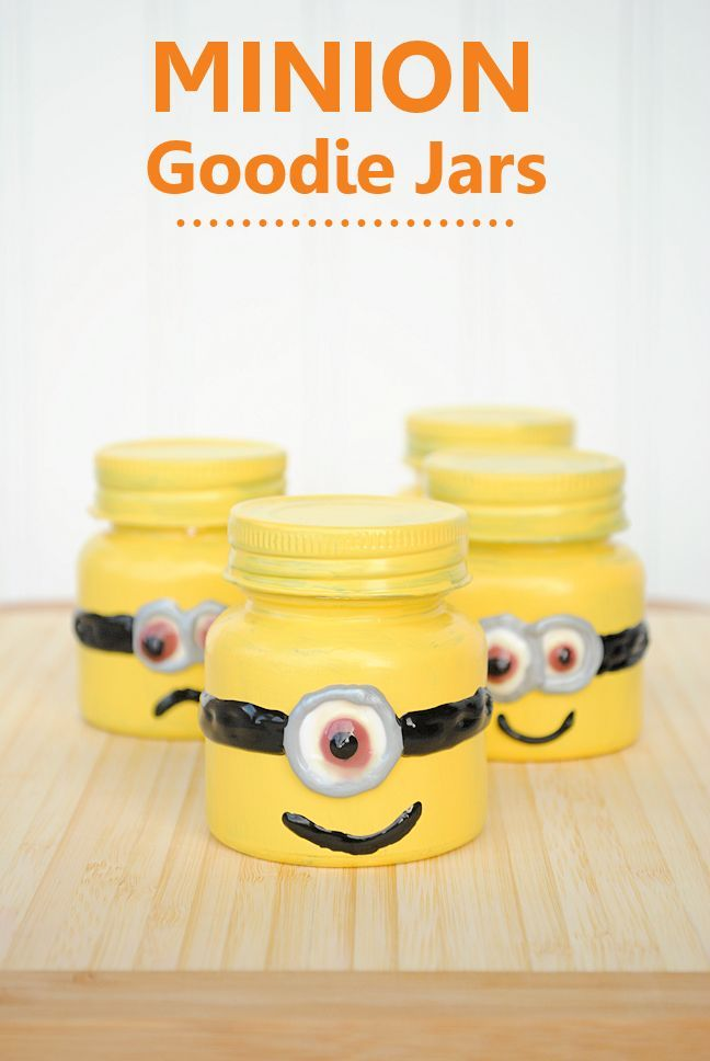 Minion Party Favors by Crazy Little Projects (cute for party favors) paint baby food jars and fill with candy