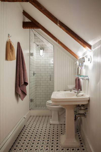 Narrow Attic Bathroom