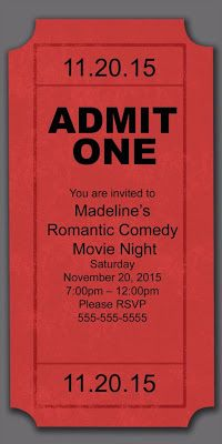 Invitation in the form of a movie ticket for movie themed party/reception