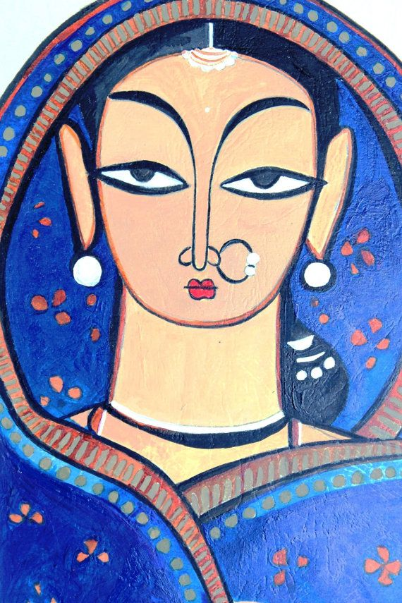 "Indian culture is represented using this beautiful acrylic art of the Indian traditional lady. This is a replica of the masterpiece ""Pujarin"" (priest's wife) by Jamini Roy."