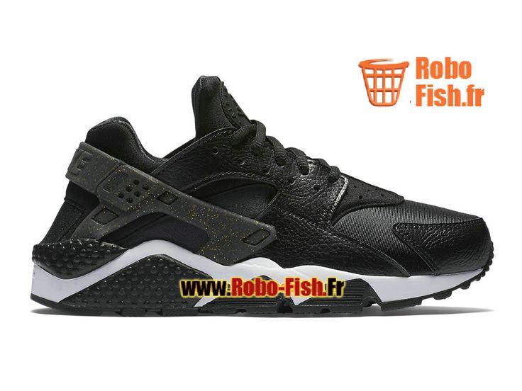 SB50 Nike Air Huarache Premium (NFL) GS - Chaussure de Nike Pas Cher Pour Femme/Enfant Noir/Noir/Or métallique/Blanc 845317-008