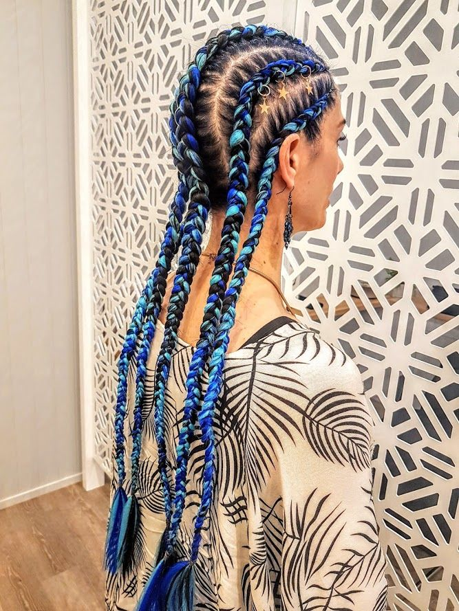 Set Of 5 Cornrows Dutch Braids With Added Blue Extensions