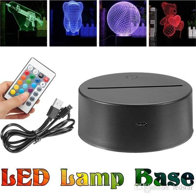 2019 Rgb Lights Led Lamp Base For 3d Illusion Lamp 4mm Acrylic Light Panel Aa Battery Or Dc 5v Usb 3d Nights Lights Dhl F Lamp Bases Night Light 3d Night Light