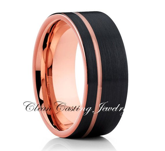 Black  Men's Tungsten Wedding Band,Tungsten Wedding Ring,Rose Gold Tungsten Band,Black Tungsten Ring,18k Rose Gold,12mm,8mm,6mm,Anniversarym