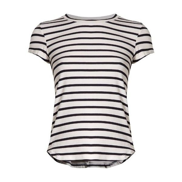 Frame Round-neck striped jersey T-shirt (90 CAD) ❤ liked on Polyvore featuring tops, t-shirts, shirts, blusas, blue stripe, white stripes t shirt, striped t shirt, t shirts, military shirt and white t shirt