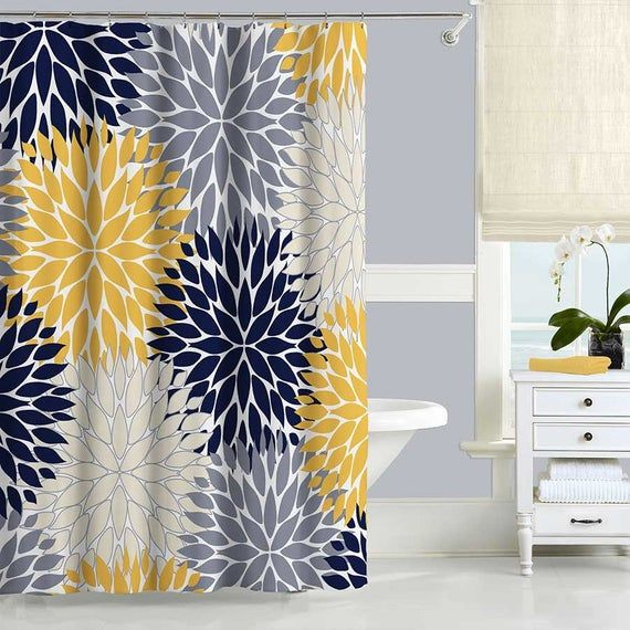 Blue And Yellow Shower Curtain Dahlia Floral Shower Curtain Bath