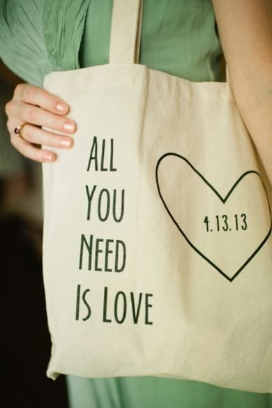 Favor Ideas: Shoulder bag for wedding gifts and favors #quote #love #bag Photo by: Spindle Photography on Southern Weddings