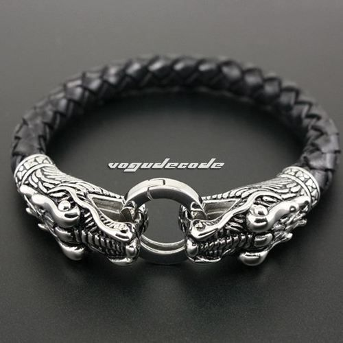 "Closed Length 7 7"" 316L Stainless Steel Leather Mens Dragon Bracelet 5M009 