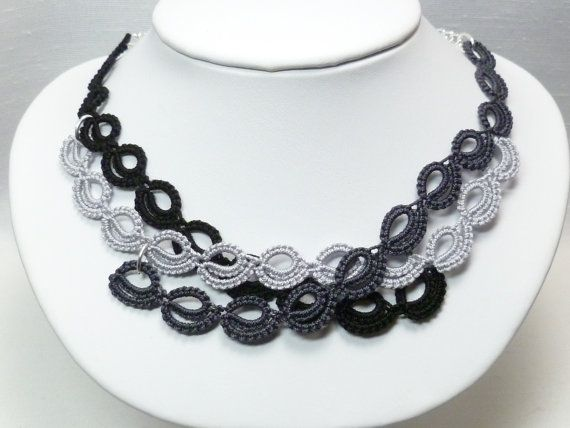 Tatted modern lace necklace with Sterling -Harmony MTO in black charcoal silver