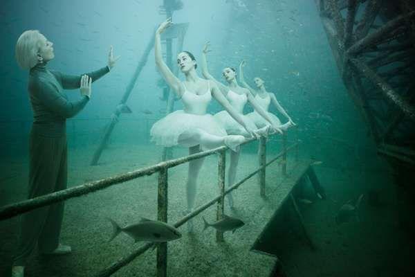 ballet barre, underwater