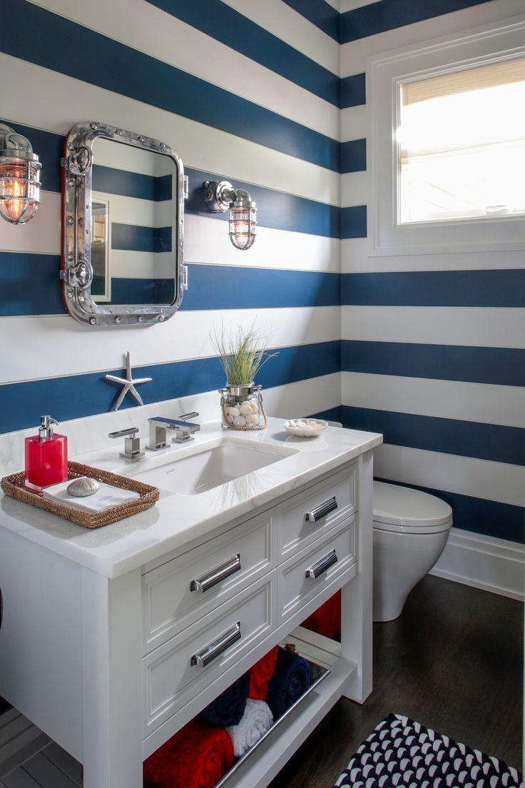 Grayson silver gray jacquard fabric cloth bathroom bath shower curtain - Hamptons Designer Showhouse 2014 Melanie Roy Bathroom Sideways Paneling Painted In Alternating Colors