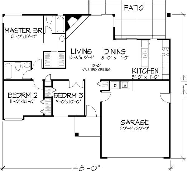 First Floor Plan of House Plan 51030