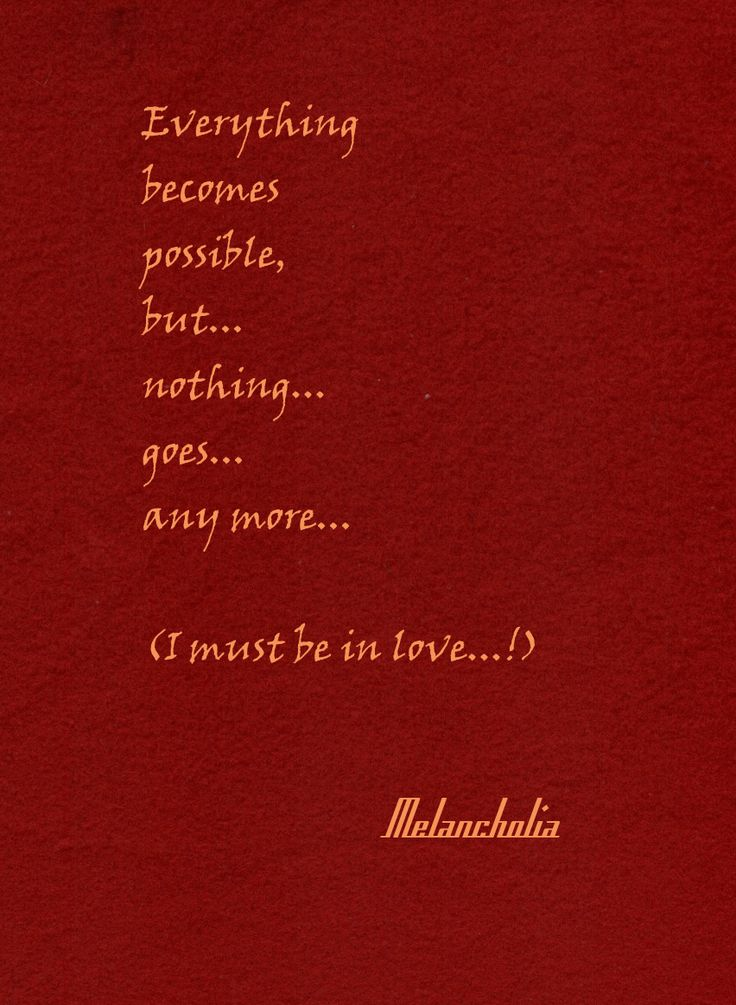 Everything becomes possible but noyhing goes any more... when you are in love.