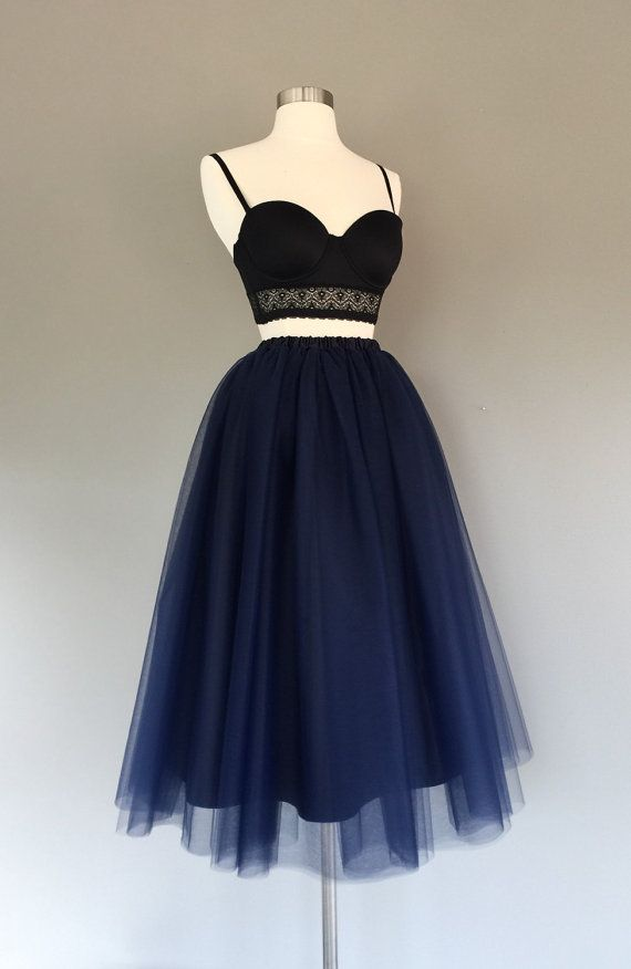 Navy blue lined tulle skirt women's tulle skirt by shopVmarie