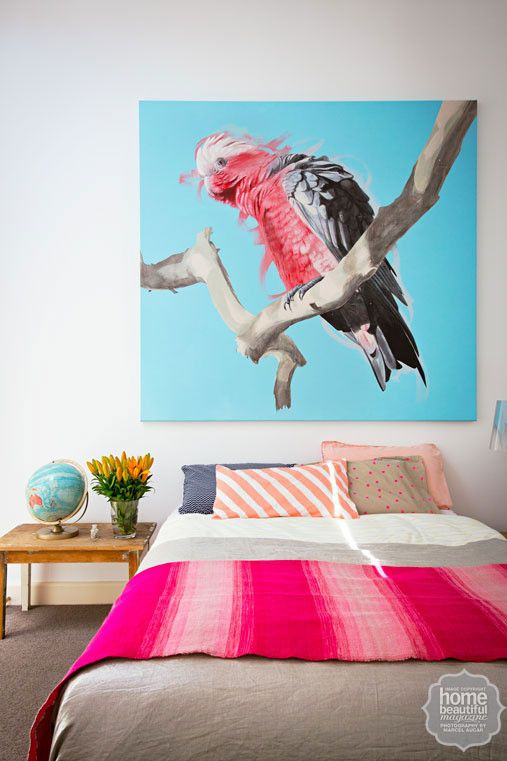Geoffrey's stunning 'Galah' painting looms large in the mezzanine bedroom. And Feliz Lucky Stripe pillowcase!