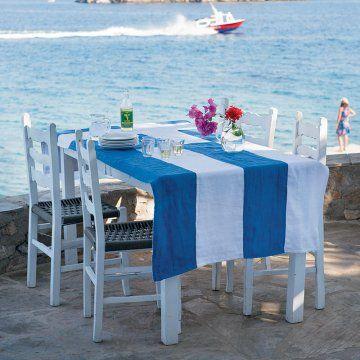 Coudre une nappe au couleurs du drapeau grec / Sew tablecloth colours Greece flag