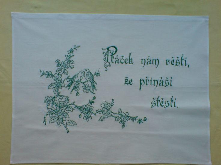 Vyšívaná kuchařka Ručně vyšívané bavlněné plátno k pověšení na zeď, rozměry cca 80x60 cm