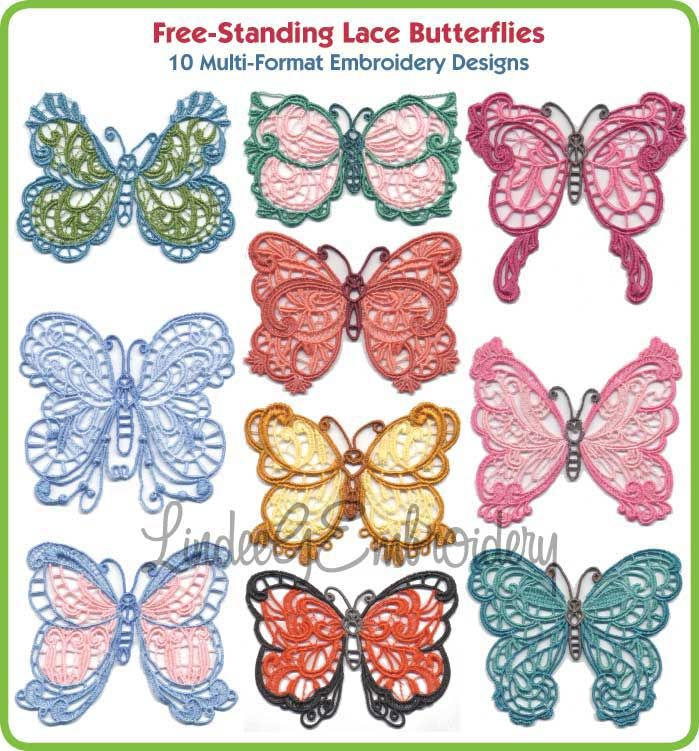 Stand Alone Lace Embroidery Designs : Free standing lace butterflies machine embroidery designs