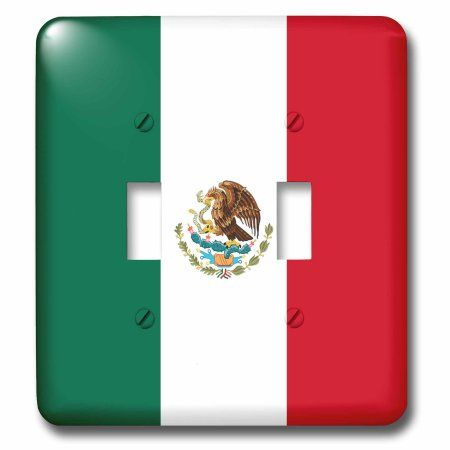3dRose World Flag of Mexico - Mexican green white red vertical stripes - eagle serpent cactus coat of arms, Double Toggle Switch