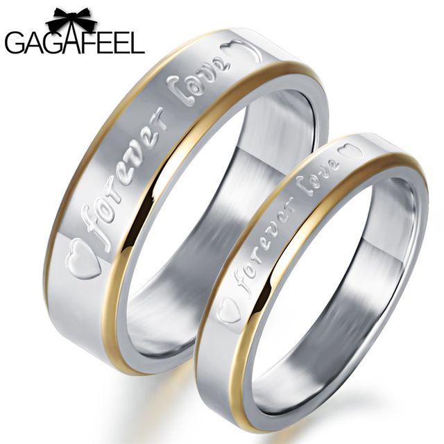 Gagafeel пары любовника кольцо из нержавеющей стали 316l кольца для мужчин женщин с письмо forever love сердце свадебные украшения челнока