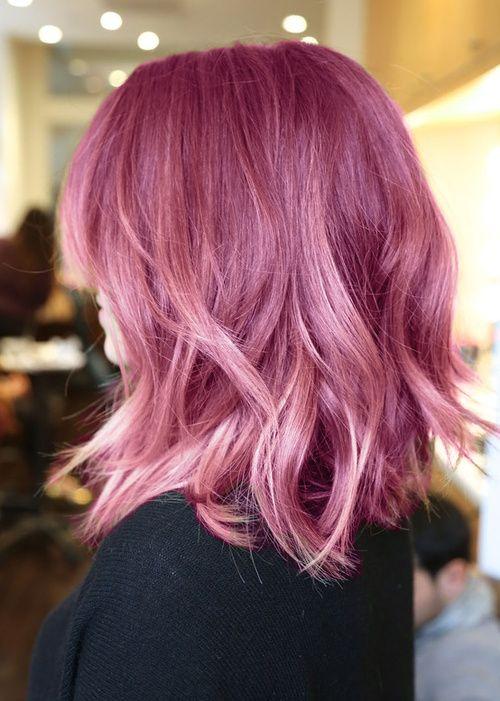 Pastel-locks in old pink, shoulder long hair, cute! #pinkhair