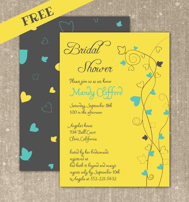 FREE printable bridal shower invitation, yellow bridal shower invitation. Customize online and download your PDF file.