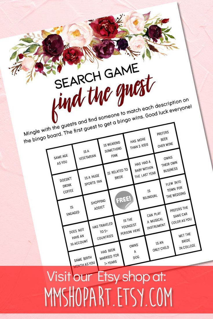 Find the Guest Game,Marsala Bridal Shower Games,Greenery
