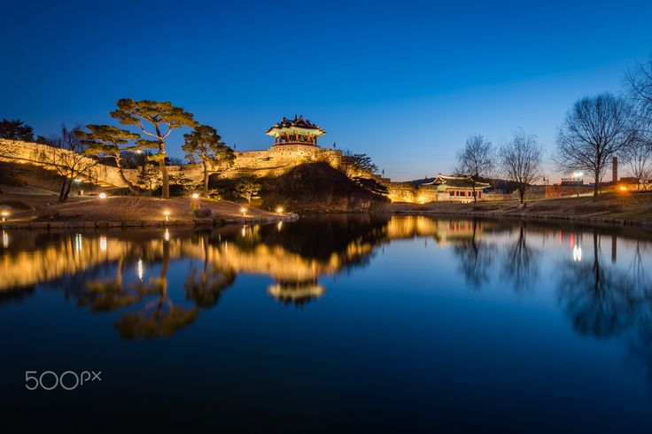 Hwaseong Fortress, Traditional Architecture of Korea in Suwon - Hwaseong Fortress, Traditional Architecture of Korea in Suwon at Night, South Korea