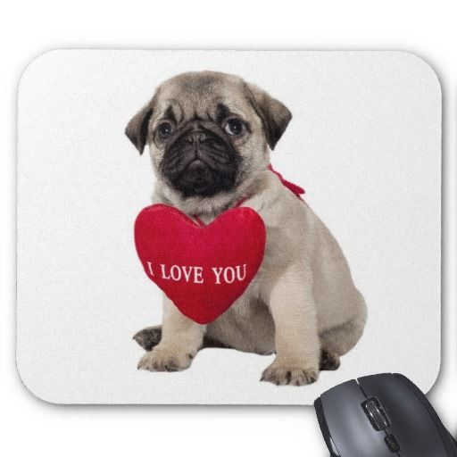 Love Pug Puppy Dog with Heart  Mousepad by alwaysdogs