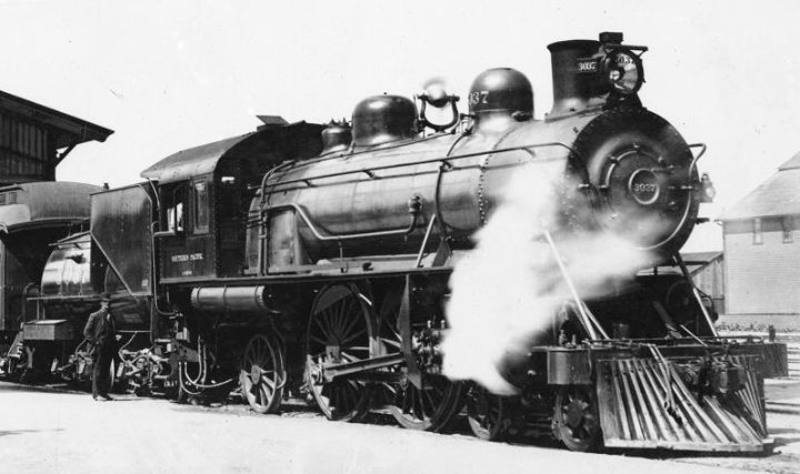 "pacificcoastrailroads:  ""Steam locomotive outside the Southern Pacific Railroad depot in San Jose, ca.1900. USC Digital Library  Southern Pacific 3037 'Atlantic' Class A-3, 4-4-2  Built by Alco-Schenectady, 1904. Southern Pacific used Atlantics until..."