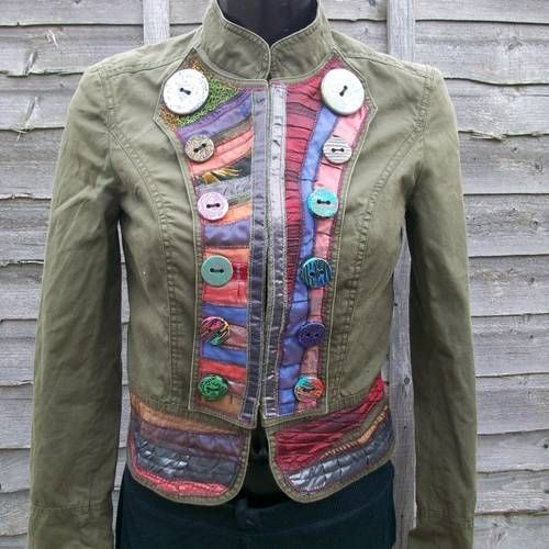 upcycled jackets with handmade buttons