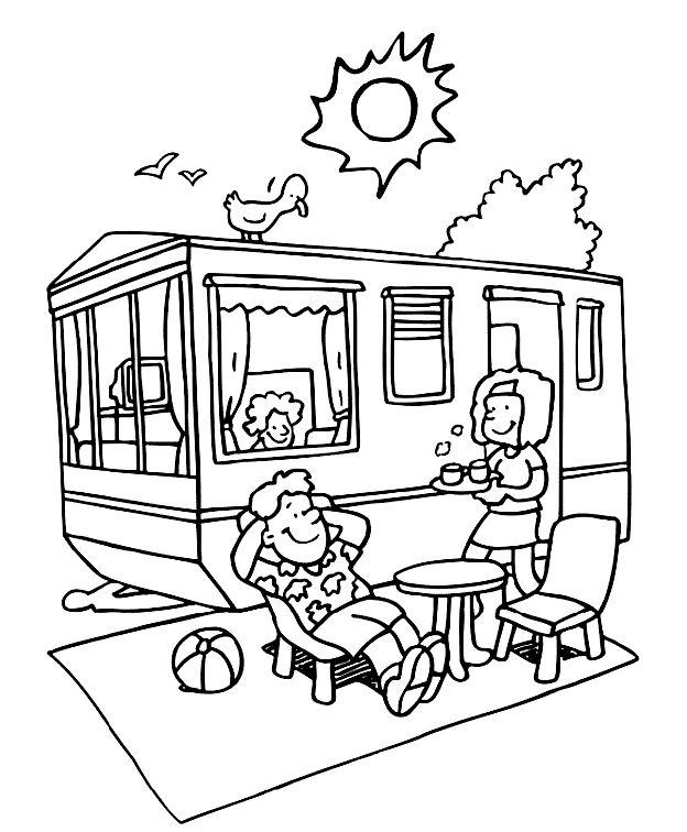 camping kleurplaat