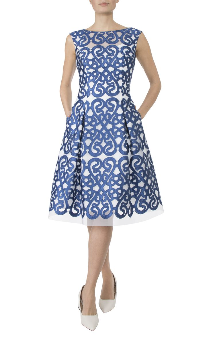 Occasion Wear   Blue & Ivory Tulle Dress