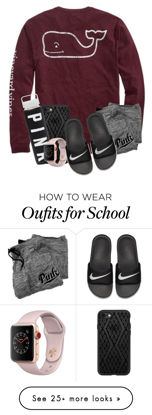 """""""OOTD : No School Lazy Day . . ."""" by meinersk45195 on Polyvore featuring Vineyard Vines, Victoria's Secret, Casetify, Apple and NIKE"""