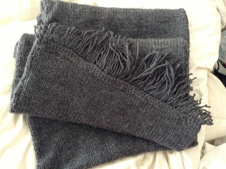Bufanda doble tejida en jersey con terminación a crochet hecha x mi