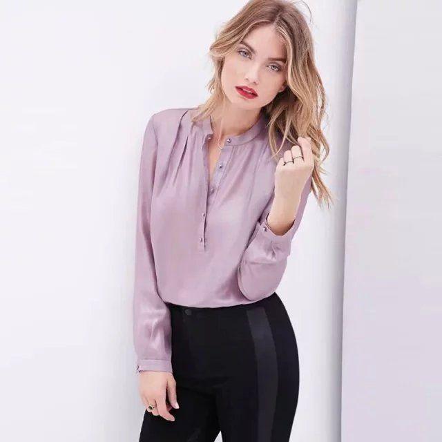 Moda 2015 mulheres de seda olhar LJ05 cetim blusas trabalho de manga comprida camisas casual tops blusas em Blusas de Roupas e Acessórios no AliExpress.com | Alibaba Group