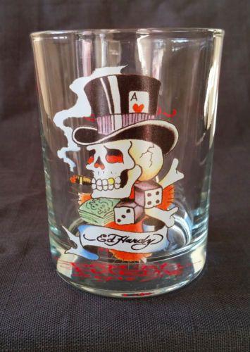 Don-Ed-Hardy-Glass-Smoking-Skull-In-Top-Hat-Scotch-Dice-Poker-Game-Gambling