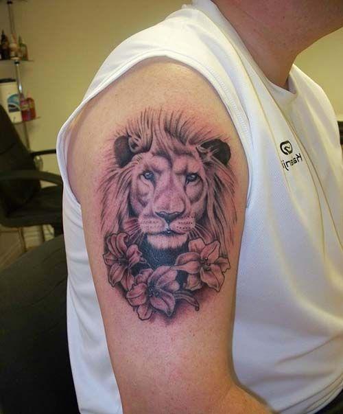 floral lion tattoo arm çiçekli aslan dövmesi