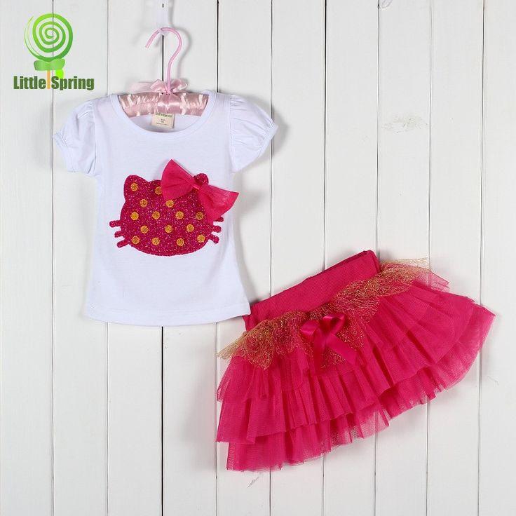 Девочки одежда комплект hello kitty T - рубашка + юбка дети одежда девочки-младенцы одежда комплект дети дети комплект
