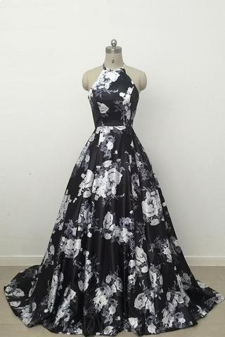 Discount Comely 2018 Prom Dresses Cute Black And White Floral Satin