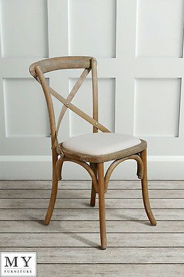 £70 My-Furniture-Cross-Back-Chair-Chamborde • Inspired by traditional French Bistro stools first designed in the early 1900's. skilfully crafted, solid oak frame has been subtly lime-washed for a chic, distressed look. • Neutral oatmeal upholstery Dimensions