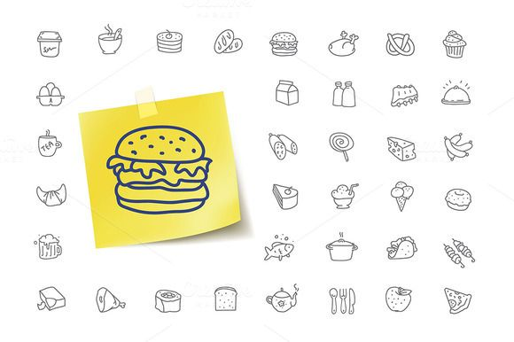 36 Food Doodle Icons by vladut'shop on @creativemarket