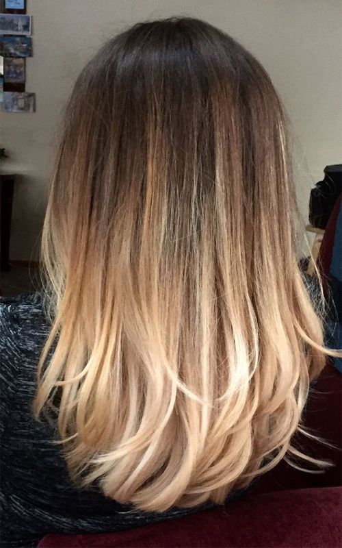 Ombre Hair Brown To Blonde Medium Length Straight